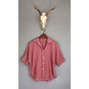Vintage Red Picnic Plaid Button Down Shirt